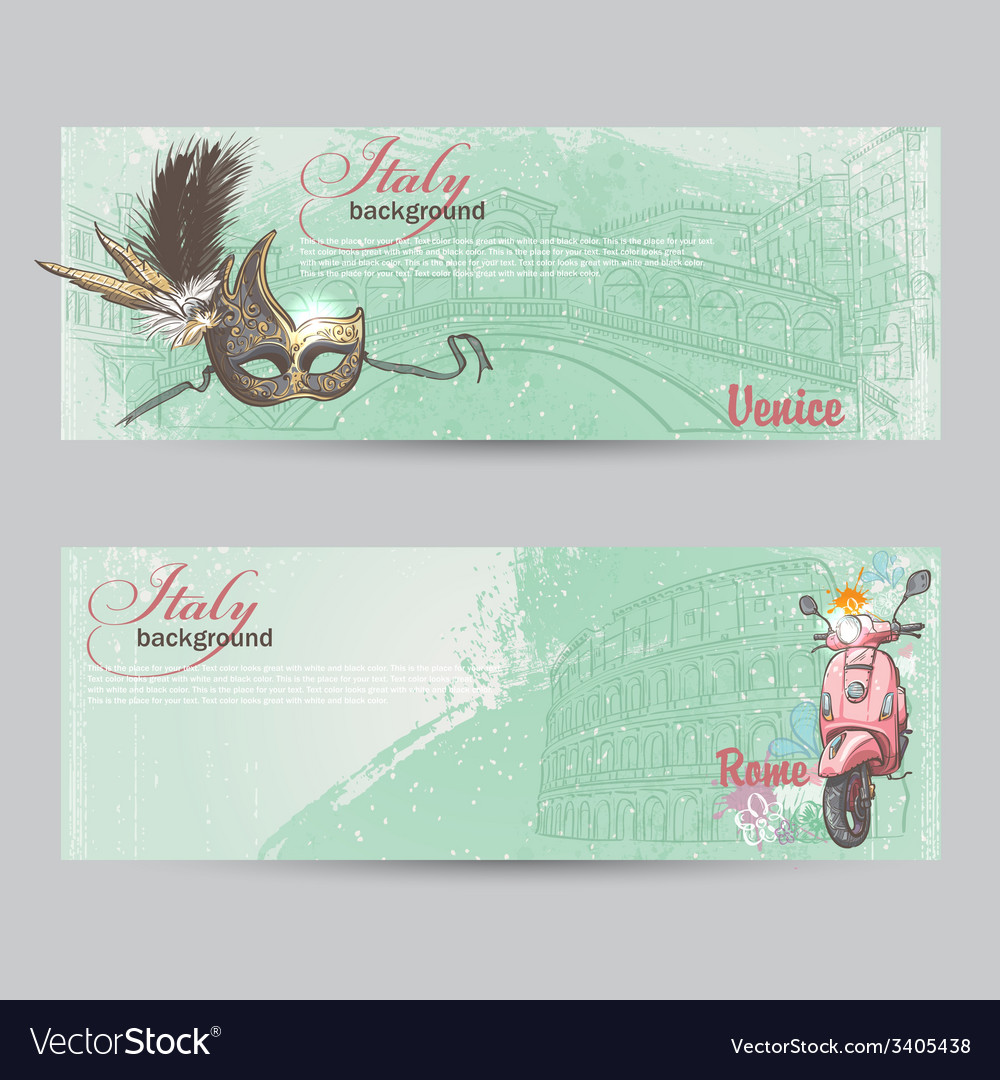 Set of horizontal banners of italy cities of rome vector | Price: 1 Credit (USD $1)