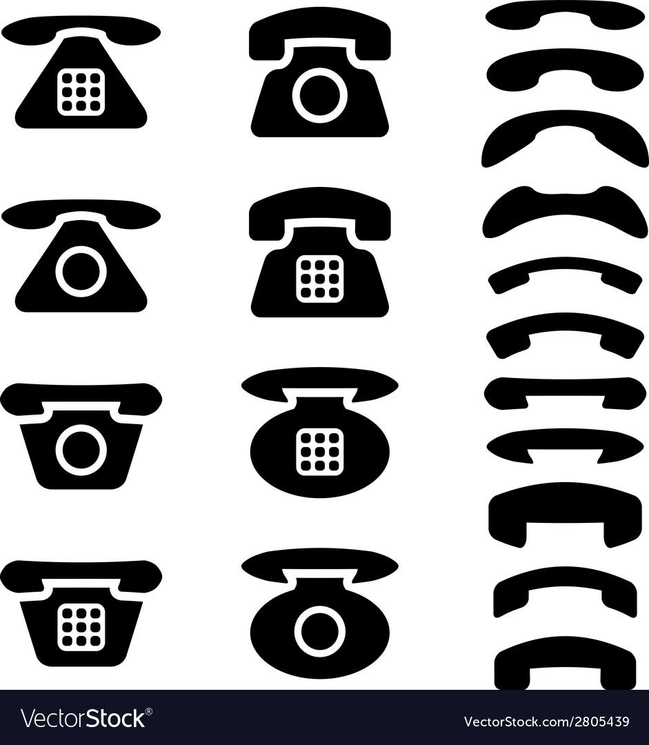 Black old phone and receiver symbols vector | Price: 1 Credit (USD $1)