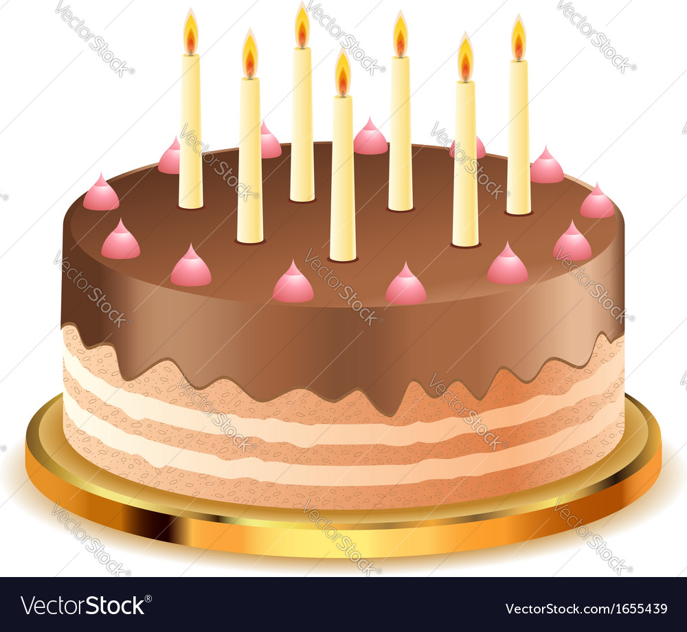 Chocolate cake with candles2 vector | Price: 1 Credit (USD $1)
