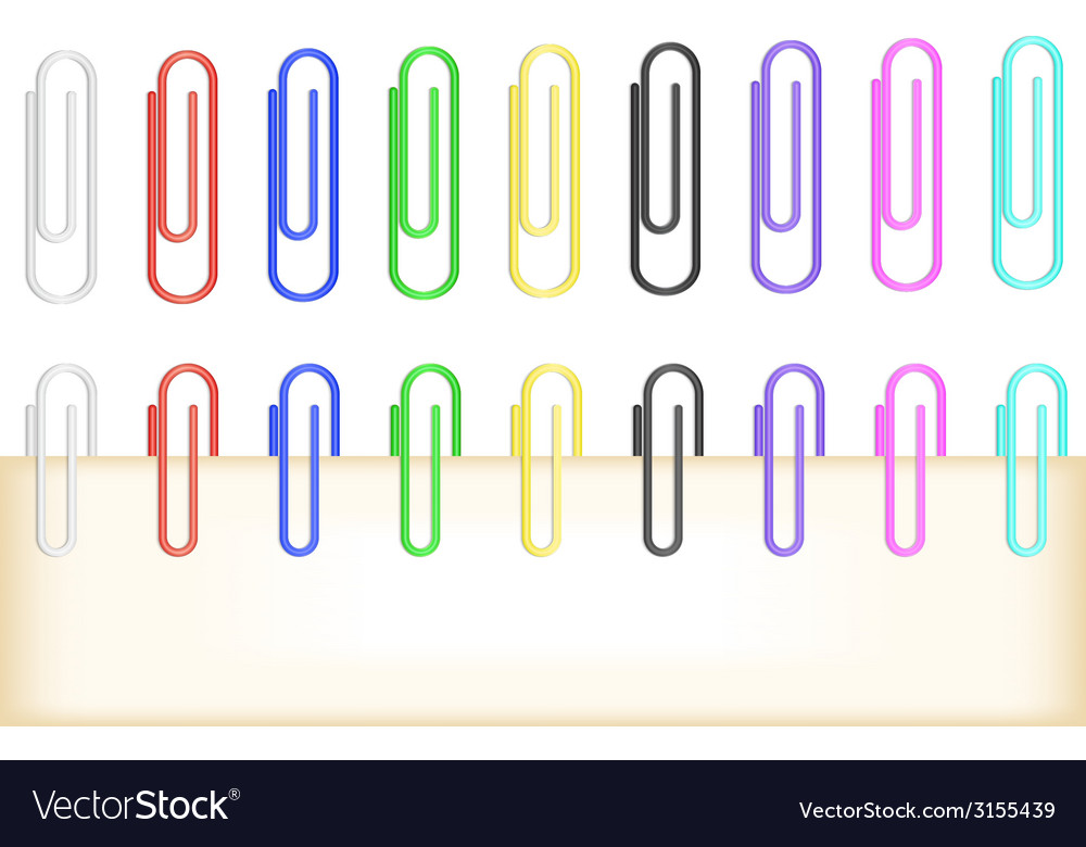 Colorful paper clips collection vector | Price: 1 Credit (USD $1)