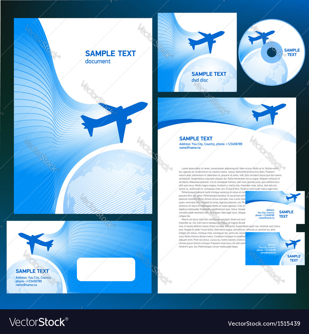Corporate identity airplane flight tickets air fly vector | Price: 1 Credit (USD $1)