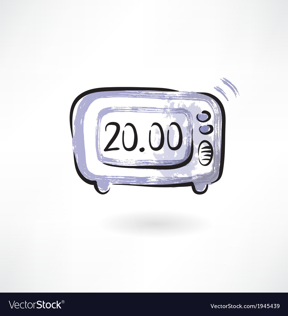 Electronic alarm clock grunge icon vector | Price: 1 Credit (USD $1)