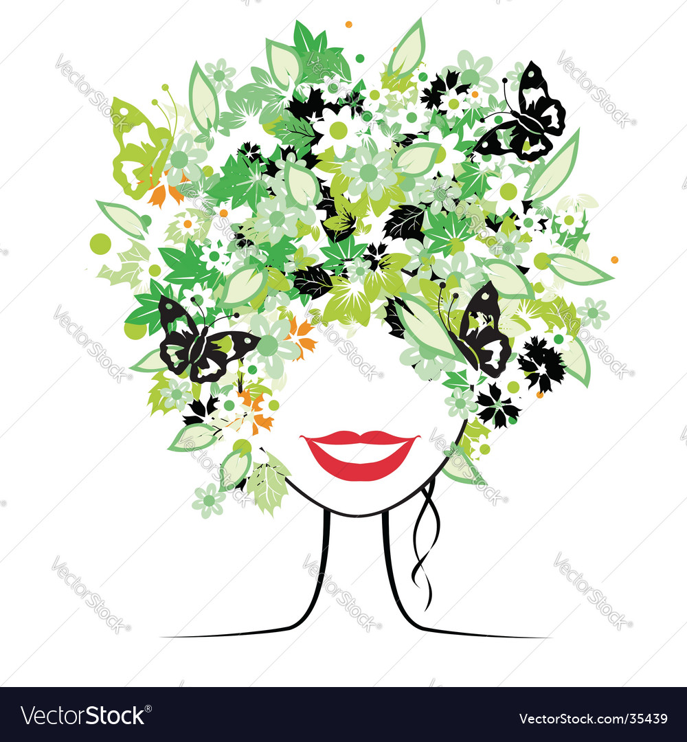 Floral hairstyle vector | Price: 1 Credit (USD $1)