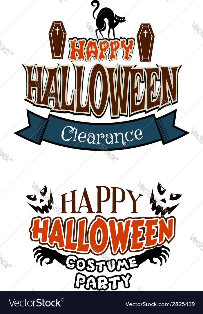 Halloween costume party banners vector | Price: 1 Credit (USD $1)