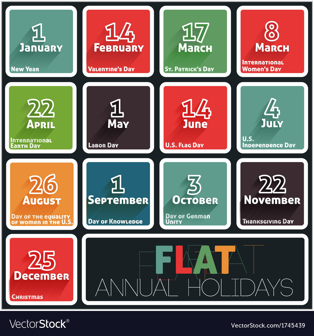 Holidays calendar vector | Price: 1 Credit (USD $1)