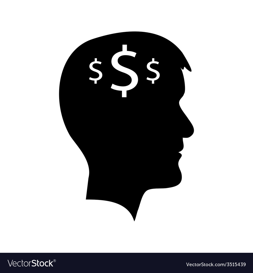 Man head with dollar signs vector | Price: 1 Credit (USD $1)