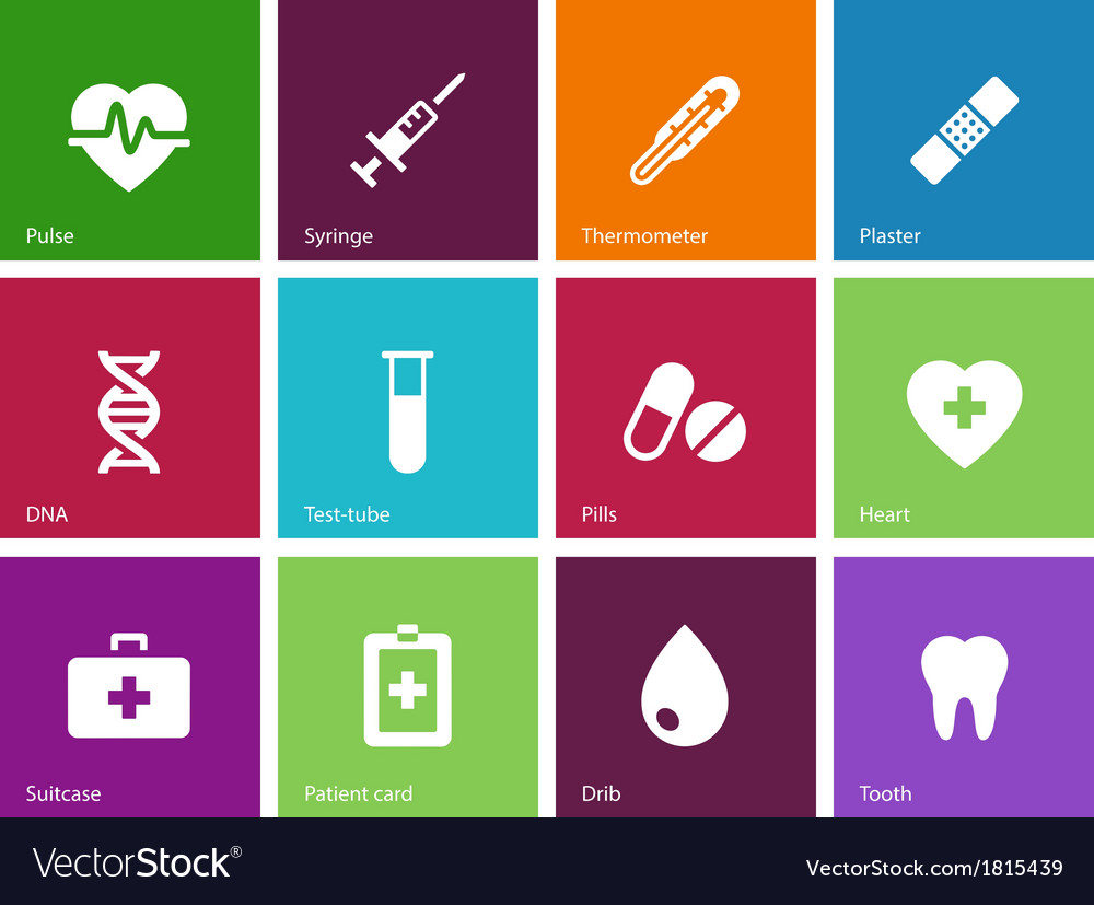 Medical icons on color background vector | Price: 1 Credit (USD $1)
