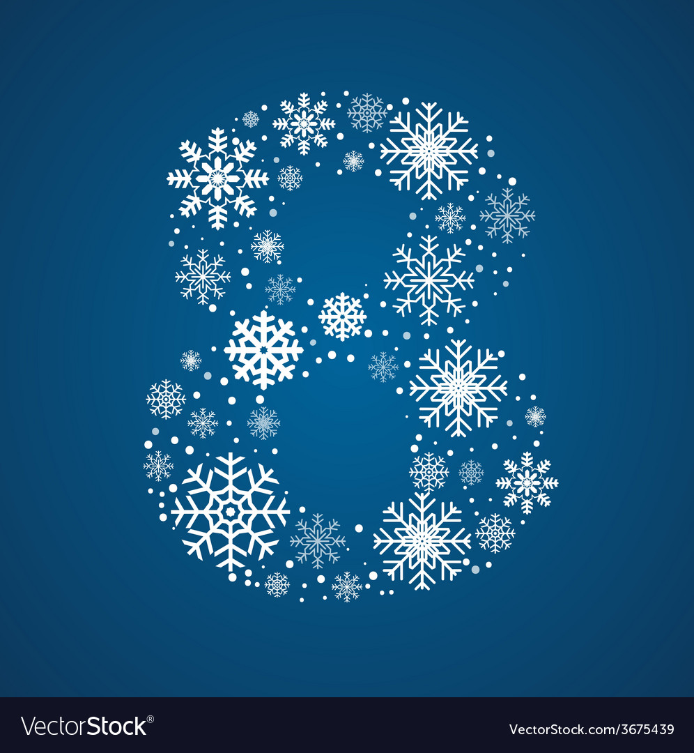 Number 8 font frosty snowflakes vector | Price: 1 Credit (USD $1)