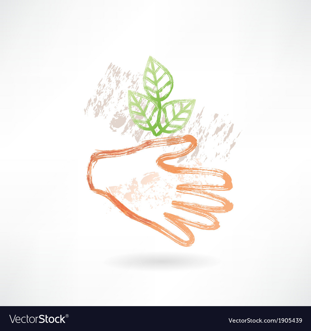 Plant and hand grunge icon vector | Price: 1 Credit (USD $1)