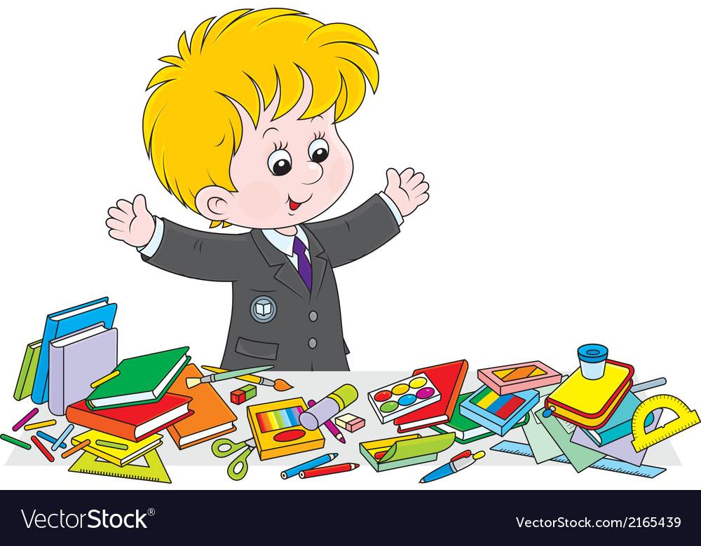 Schoolboy preparing for school vector   Price: 1 Credit (USD $1)