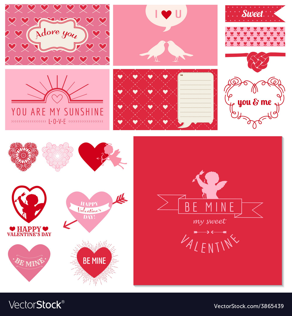Scrapbook design set - valentines day hearts vector | Price: 1 Credit (USD $1)