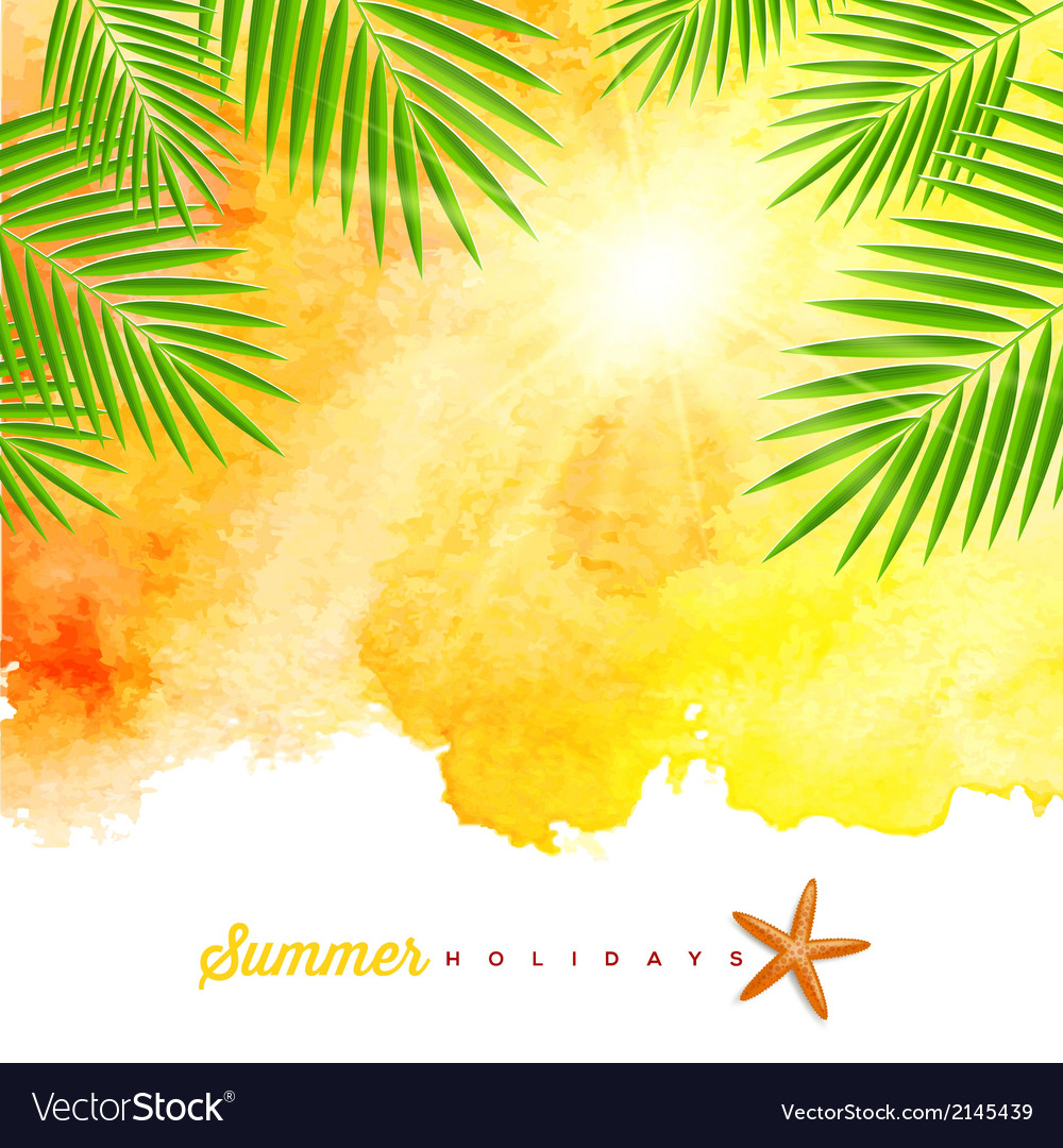 Tropical summer watercolor background vector | Price: 3 Credit (USD $3)