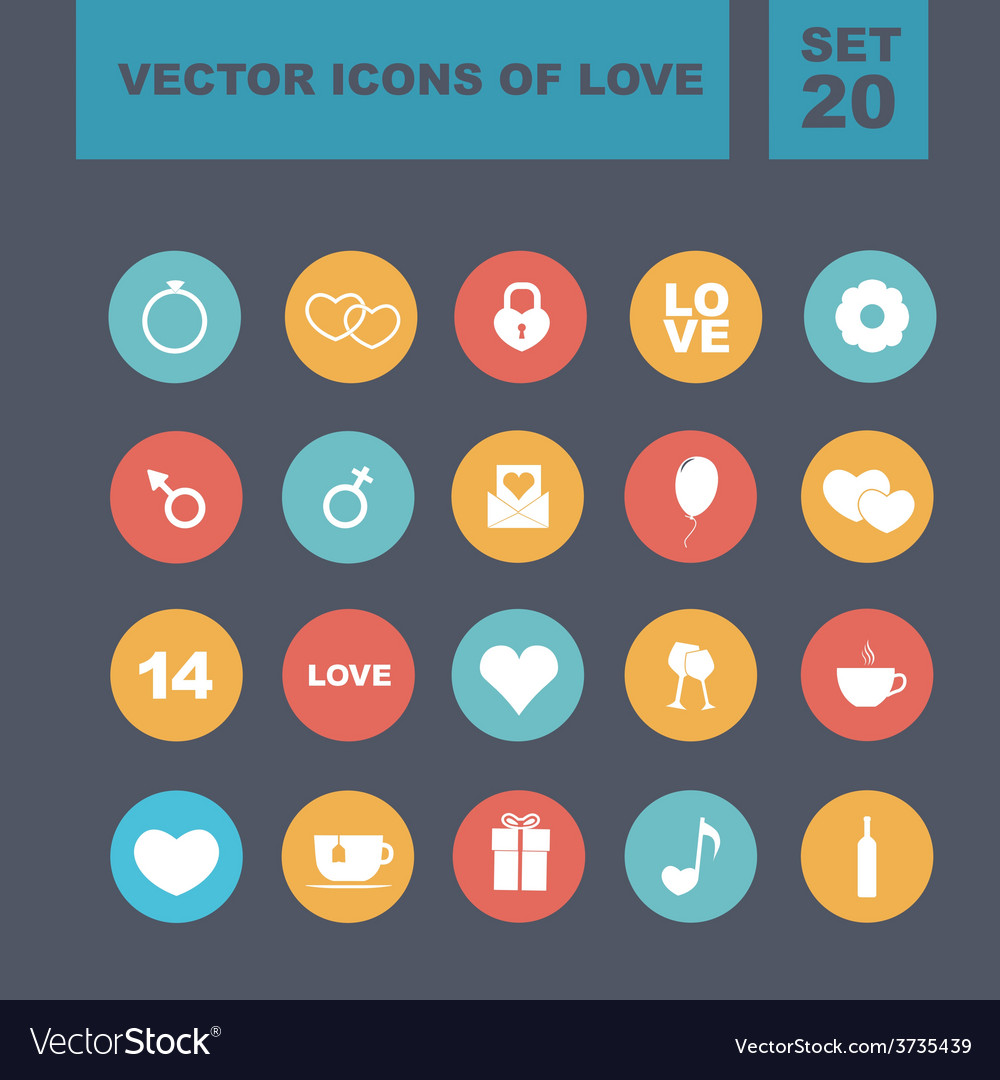 Valentines day heart icons 5 vector | Price: 1 Credit (USD $1)