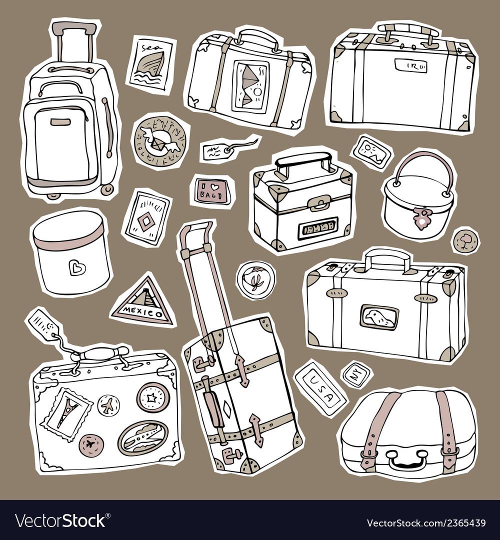 Vintage suitcases set travel vector | Price: 1 Credit (USD $1)