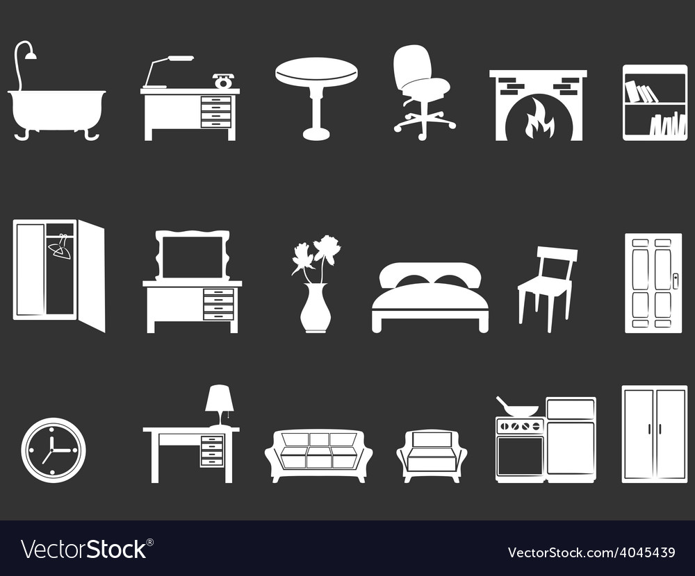 White furniture silhouettes vector | Price: 1 Credit (USD $1)