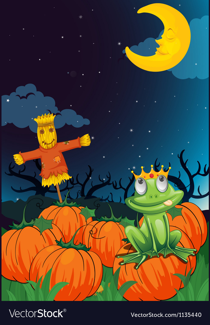 A scarecrow and frog vector | Price: 1 Credit (USD $1)
