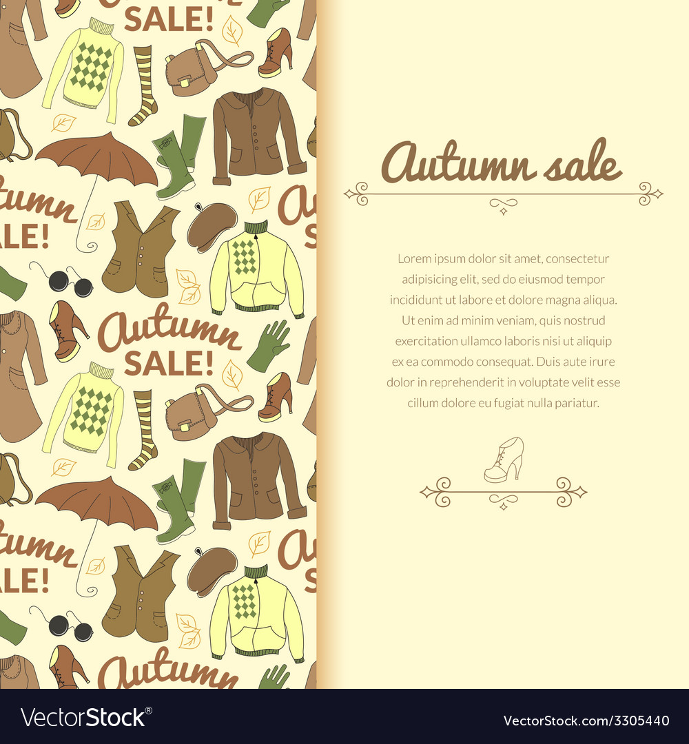 Autumn sale background with season women clothes vector | Price: 1 Credit (USD $1)