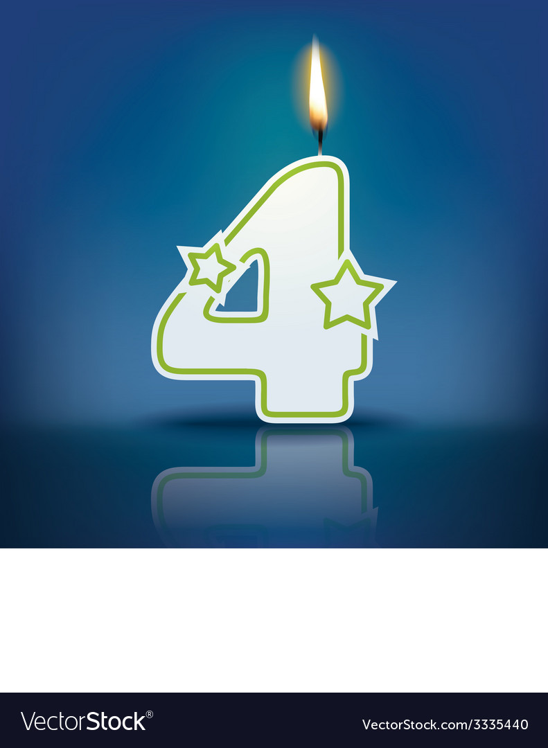 Candle number 4 with flame vector | Price: 1 Credit (USD $1)