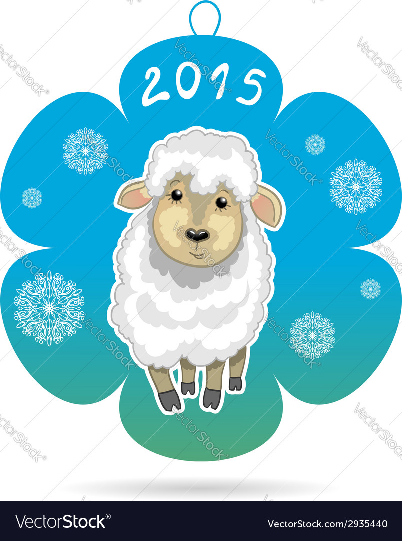 Card with snowflake with little cute sheep symbol vector | Price: 1 Credit (USD $1)