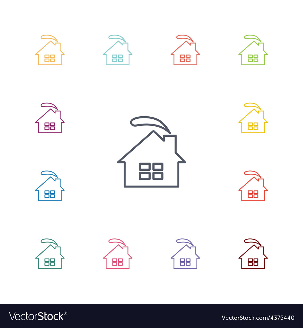 Cozy home flat icons set vector | Price: 1 Credit (USD $1)