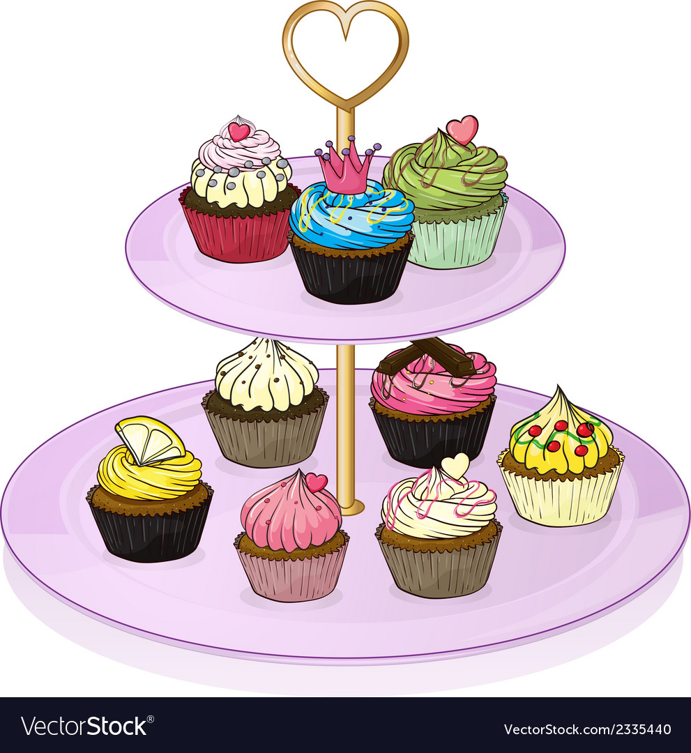 Cupcakes in the cupcake tray vector | Price: 1 Credit (USD $1)