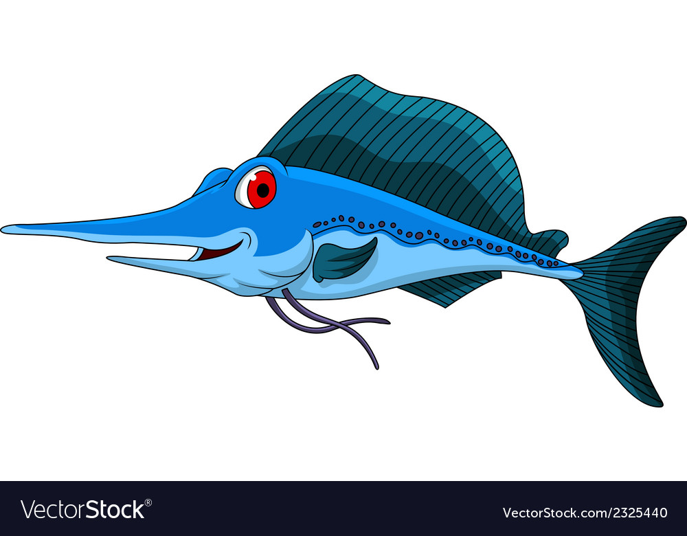Cute blue marlin cartoon vector | Price: 1 Credit (USD $1)