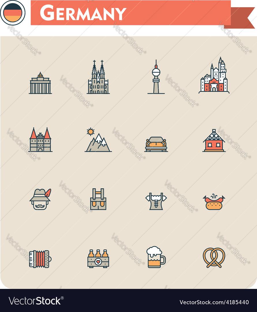 Germany travel icon set vector | Price: 1 Credit (USD $1)