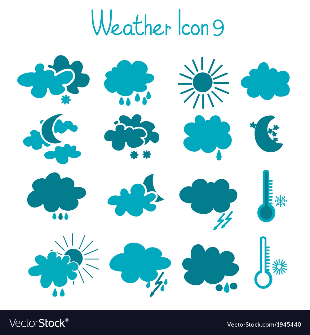 Hand drawn weather icon set vector | Price: 1 Credit (USD $1)