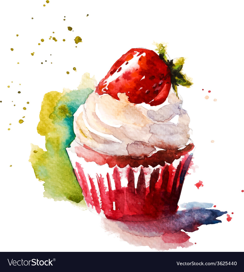Hand painted watercolor strawberry muffin vector | Price: 1 Credit (USD $1)