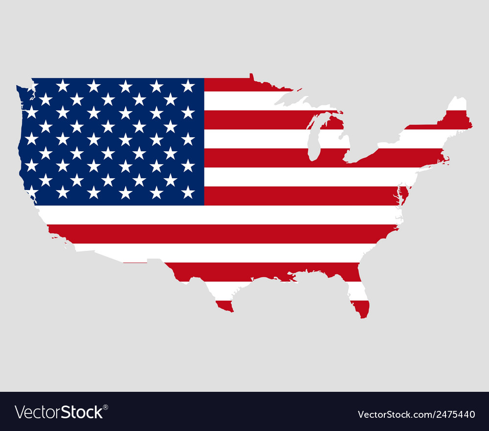 Map and flag of usa vector | Price: 1 Credit (USD $1)