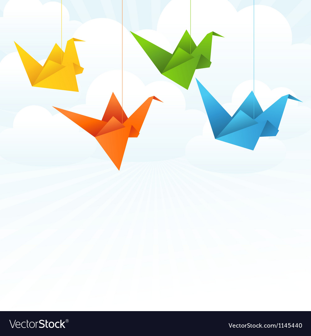 Origami paper birds flight abstract background vector | Price: 1 Credit (USD $1)