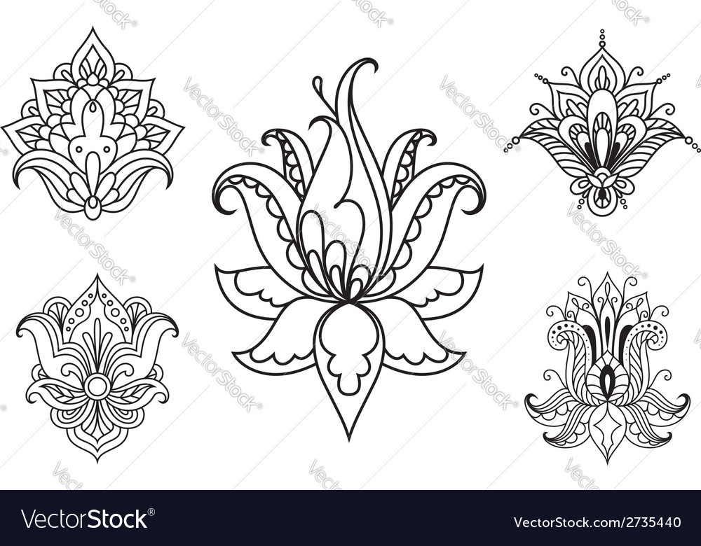 Persian floral paisley ornaments and elements vector | Price: 1 Credit (USD $1)