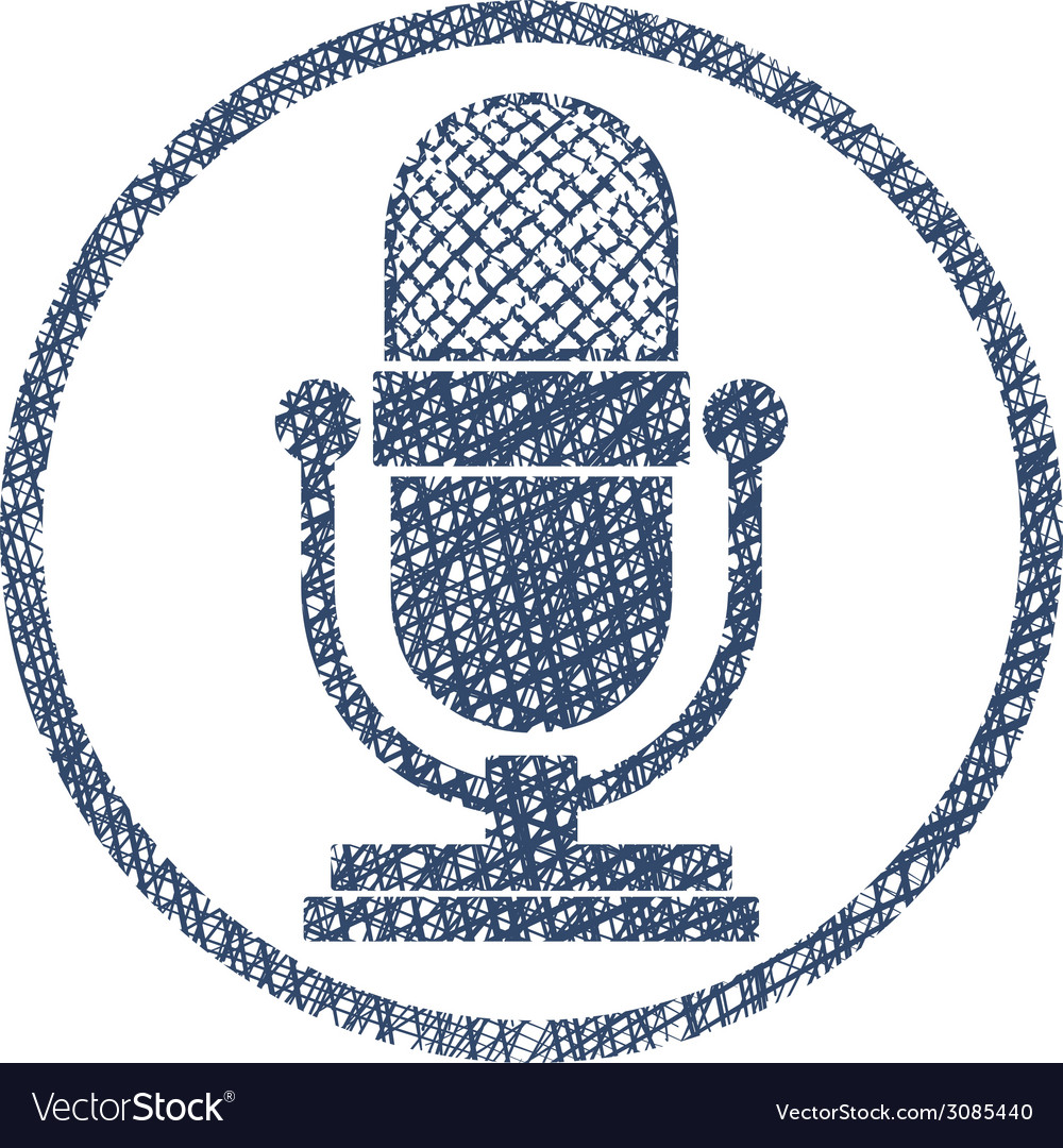 Retro microphone icon with hand drawn lines vector | Price: 1 Credit (USD $1)