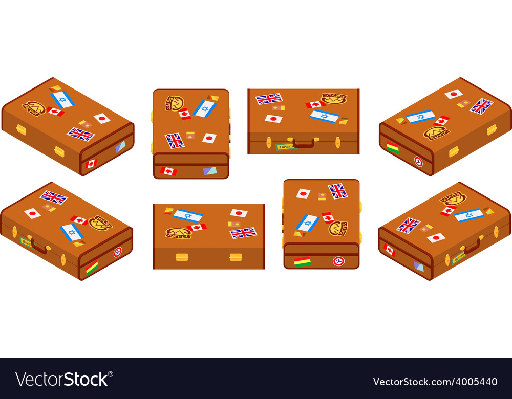 Set of lying brown travelers suitcases vector | Price: 1 Credit (USD $1)