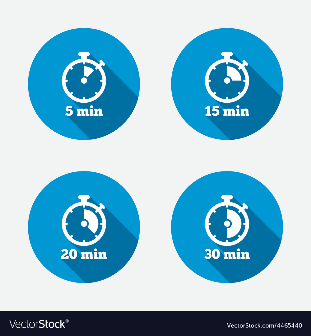 Timer icons five minutes stopwatch symbol vector | Price: 1 Credit (USD $1)