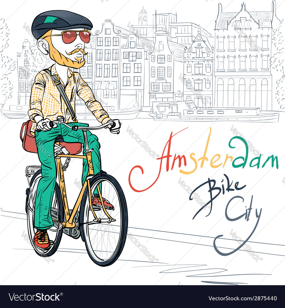 Trendy hipster bearded boy on a bike vector | Price: 1 Credit (USD $1)