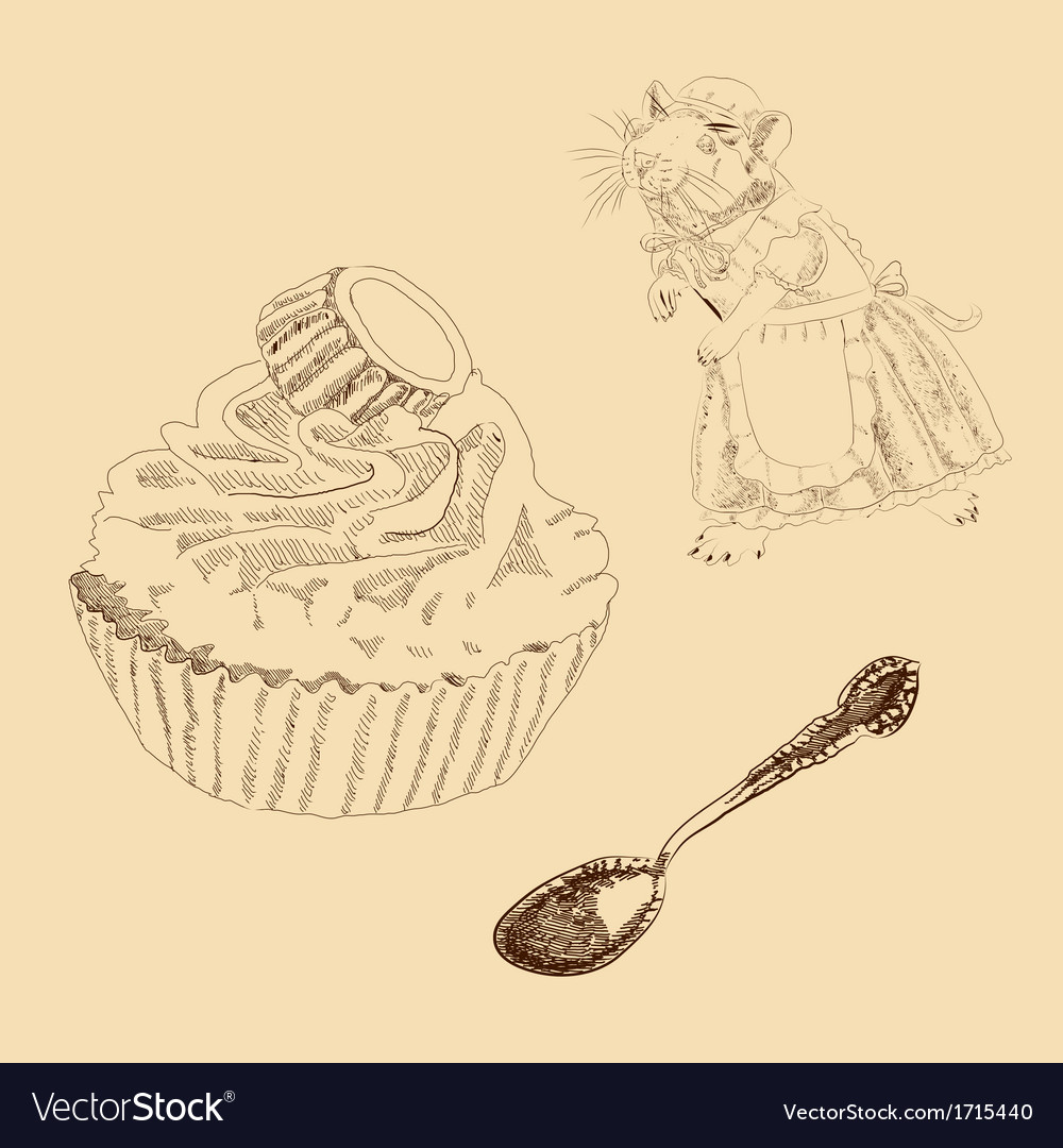 Vintage set of mouse spoon and cake vector   Price: 1 Credit (USD $1)