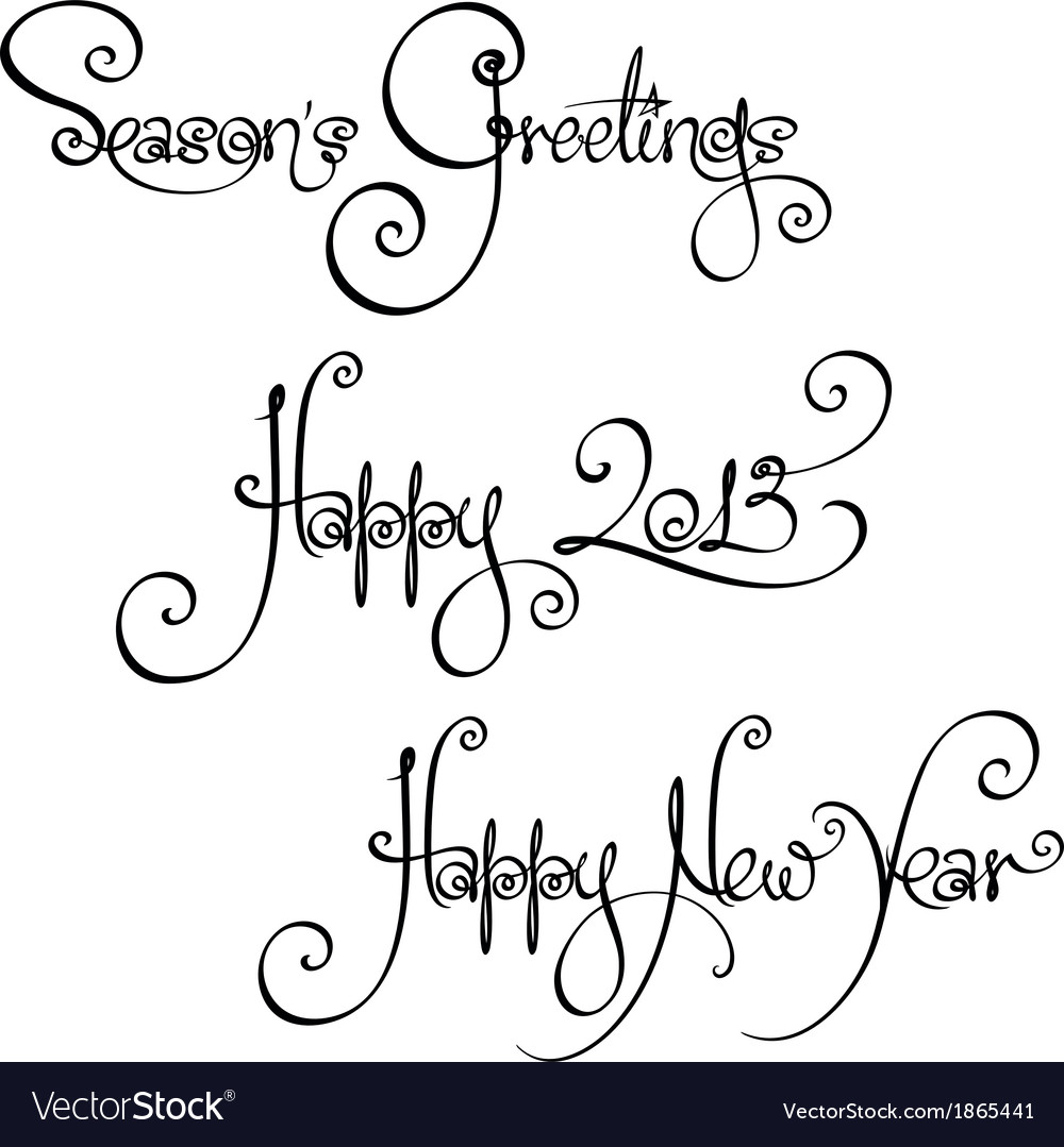 3 new year 2013 handwriting wishes vector | Price: 1 Credit (USD $1)