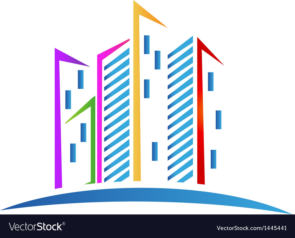 Buildings colorful real estate logo vector | Price: 1 Credit (USD $1)
