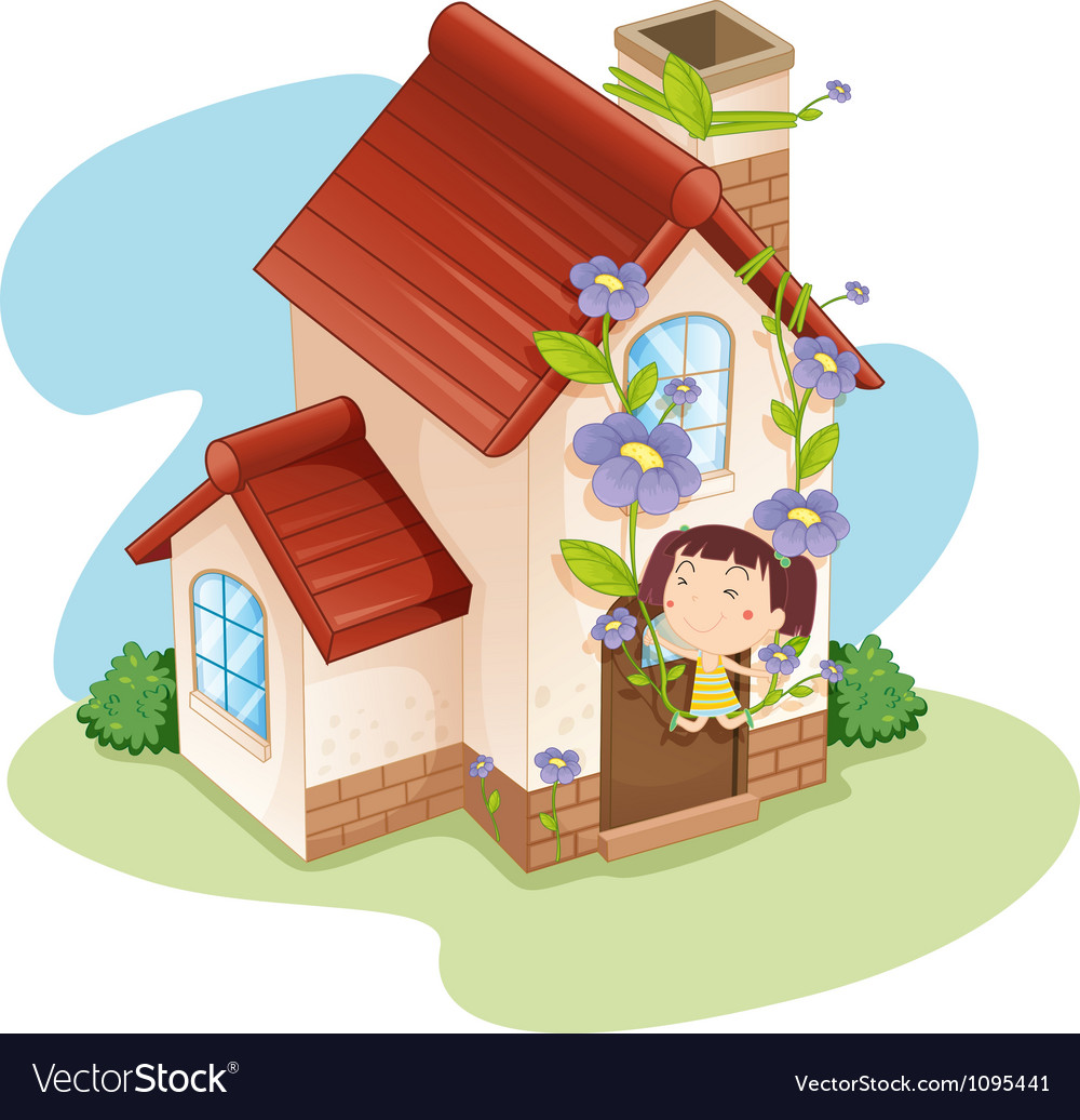 Girl and house vector | Price: 1 Credit (USD $1)