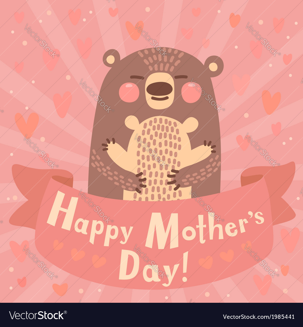 Greeting card for mom with cute bear vector | Price: 1 Credit (USD $1)