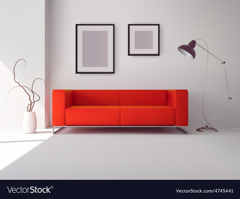 Red sofa with frames and lamp vector | Price: 1 Credit (USD $1)