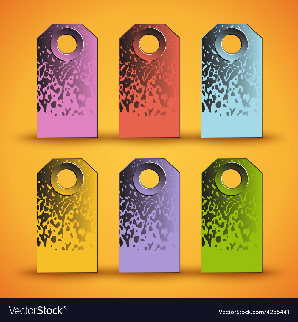 Set of the colorful tags on orange background vector | Price: 1 Credit (USD $1)