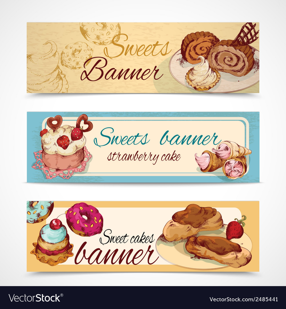 Sweets colored banners vector | Price: 1 Credit (USD $1)
