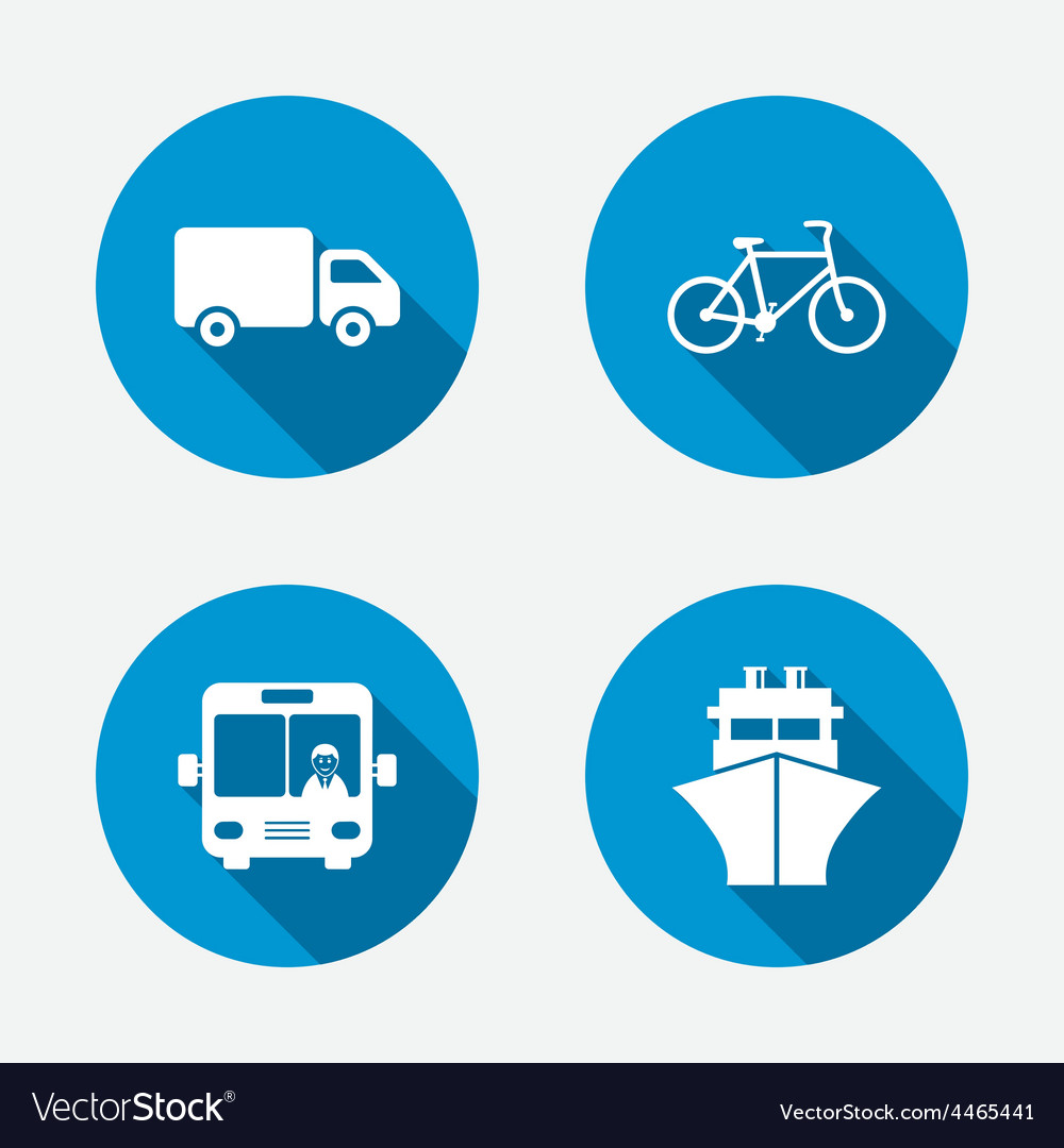 Transport icons truck bicycle bus and ship vector | Price: 1 Credit (USD $1)
