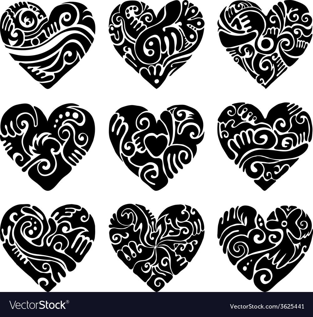 Tribal hearts vector | Price: 1 Credit (USD $1)