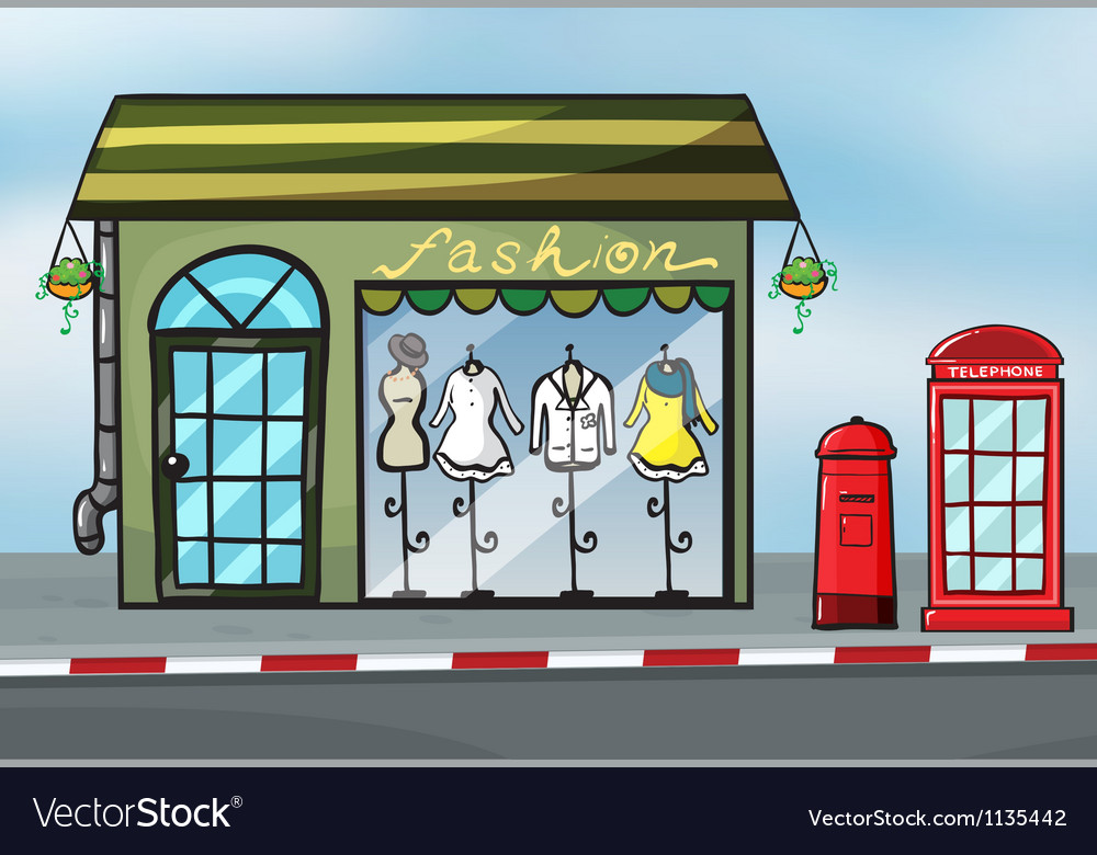 A fashion store and a callbox vector   Price: 1 Credit (USD $1)