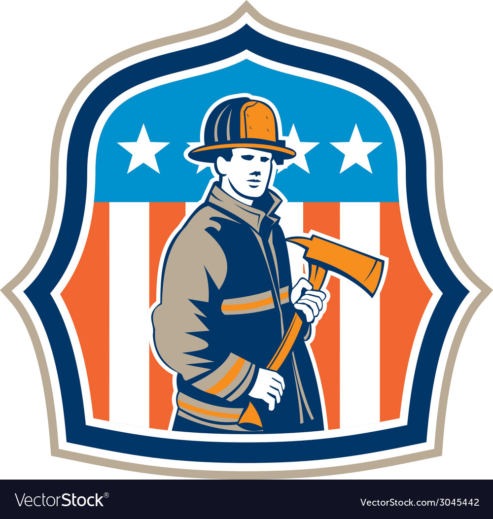 American fireman firefighter fire axe shield vector | Price: 1 Credit (USD $1)