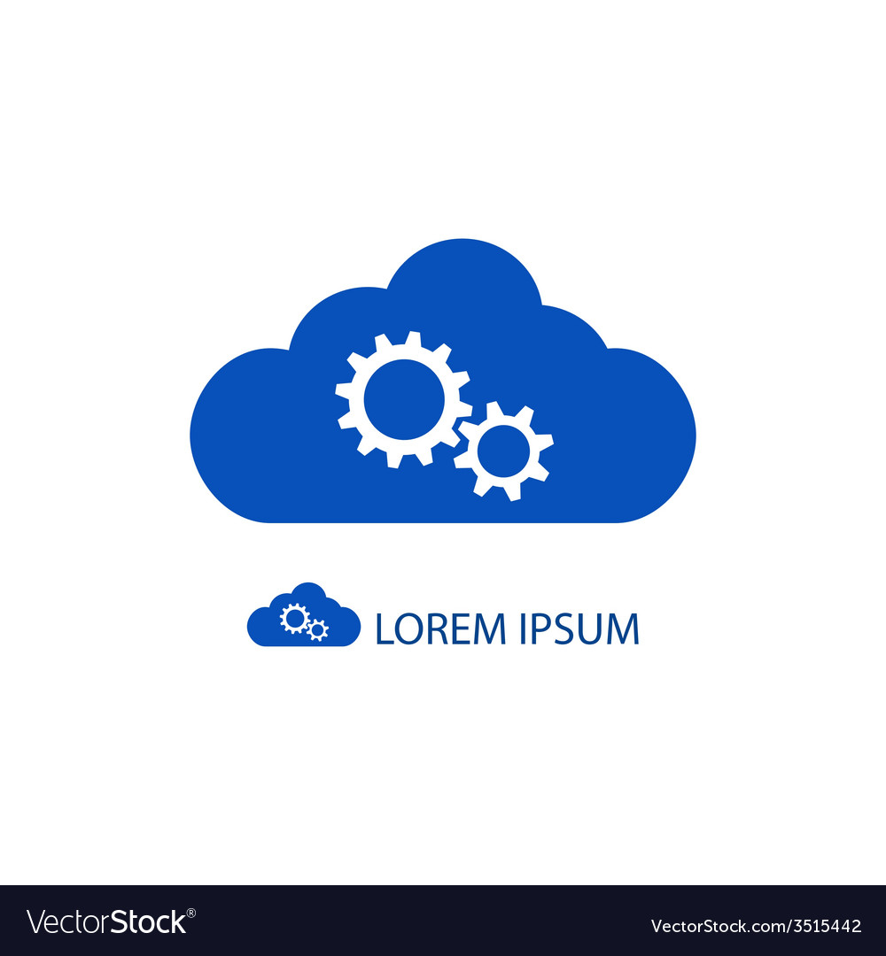 Blue cloud with gear wheels vector | Price: 1 Credit (USD $1)