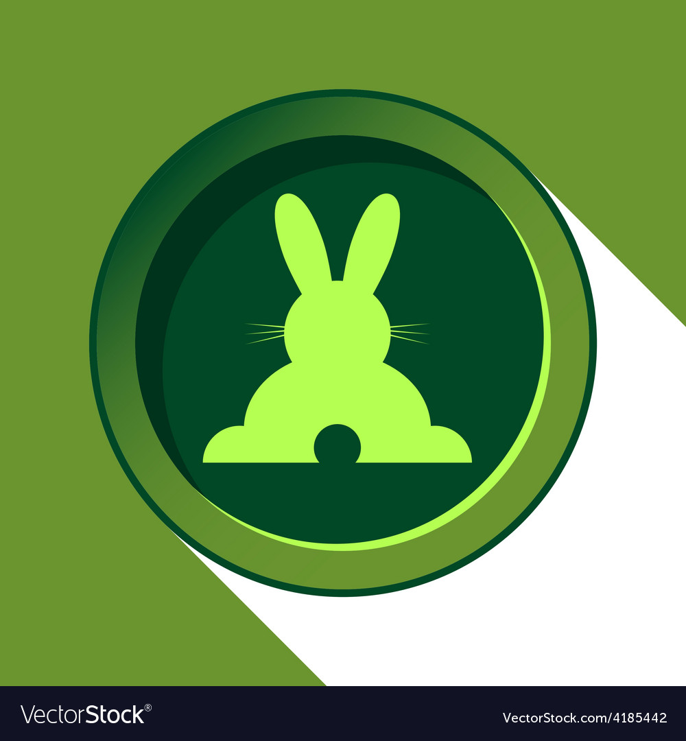 Button with light green back easter bunny and vector | Price: 1 Credit (USD $1)